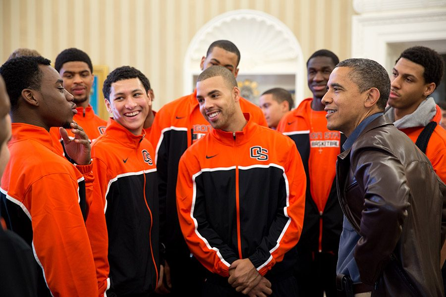 President Barack Obama jokes with players from the Oregon State University basketball team in the Oval Office on Thanksgiving Day, Nov. 22, 2012. The team's head coach is Craig Robinson, brother of First Lady Michelle Obama. (Official White House Photo by Pete Souza)
