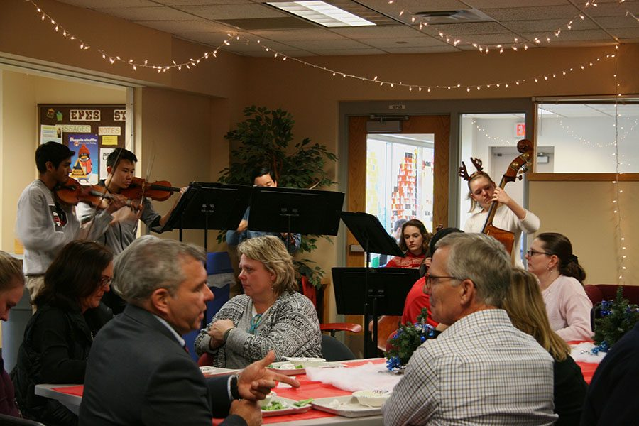 Teachers celebrate the holidays during lunch with a performance in the teacher's lounge. When will teachers come and performance for us?