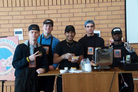 The entrepreneurship class sells cinnamon waffles in New Commons