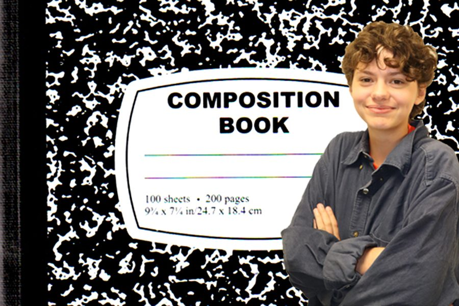Sydeny Lewis is crossing her arms with a composition notebook.